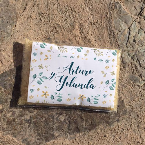 Bolsas de arroz para bodas personalizables