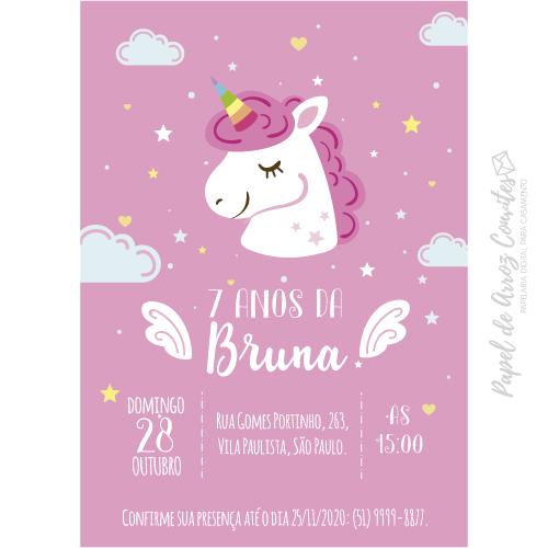 Convite Pink Unicórnio