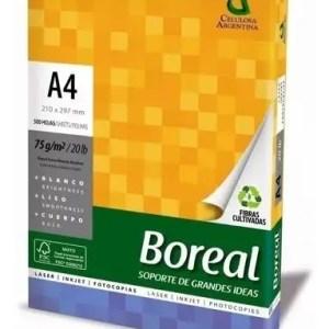 Resma Papel Boreal A4 75gr 500 Hojas Blanco Vta Caja X 10un