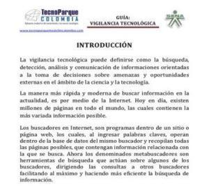guía de vigilancia tecnologica de TECNOPARQUE