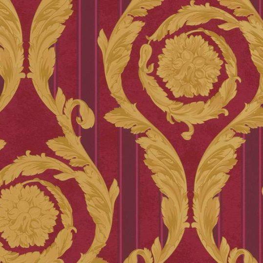 935683 resize - Papel pintado barroco con medallones dorados y fondo de rayas en granates de Versace Ref. 93568-3