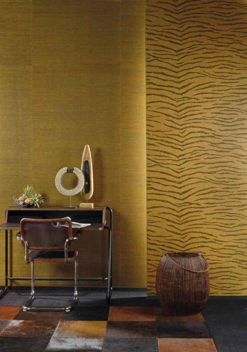 JUA 315 JUA 211 - Revestimiento mural de sisal oro y negro estampado tigre de la colección Jungle Ref. JUA211