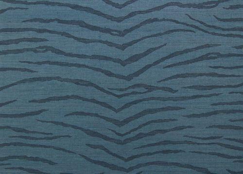 jua224 - Revestimiento mural de sisal turquesa estampado tigre de la colección Jungle Ref. JUA224