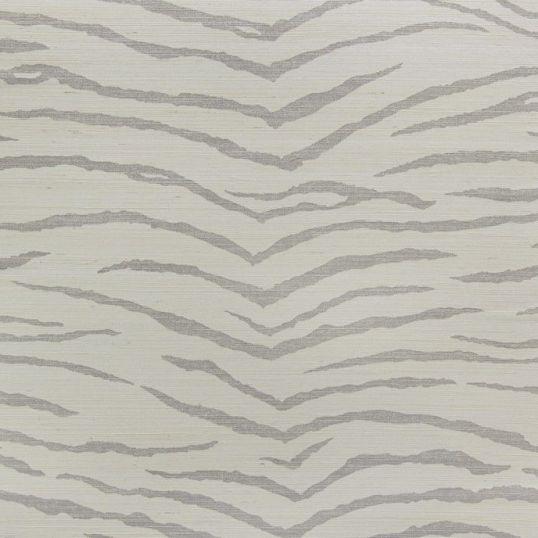 jua232 - Revestimiento mural de sisal blanco y plata estampado tigre de la colección Jungle Ref. JUA232