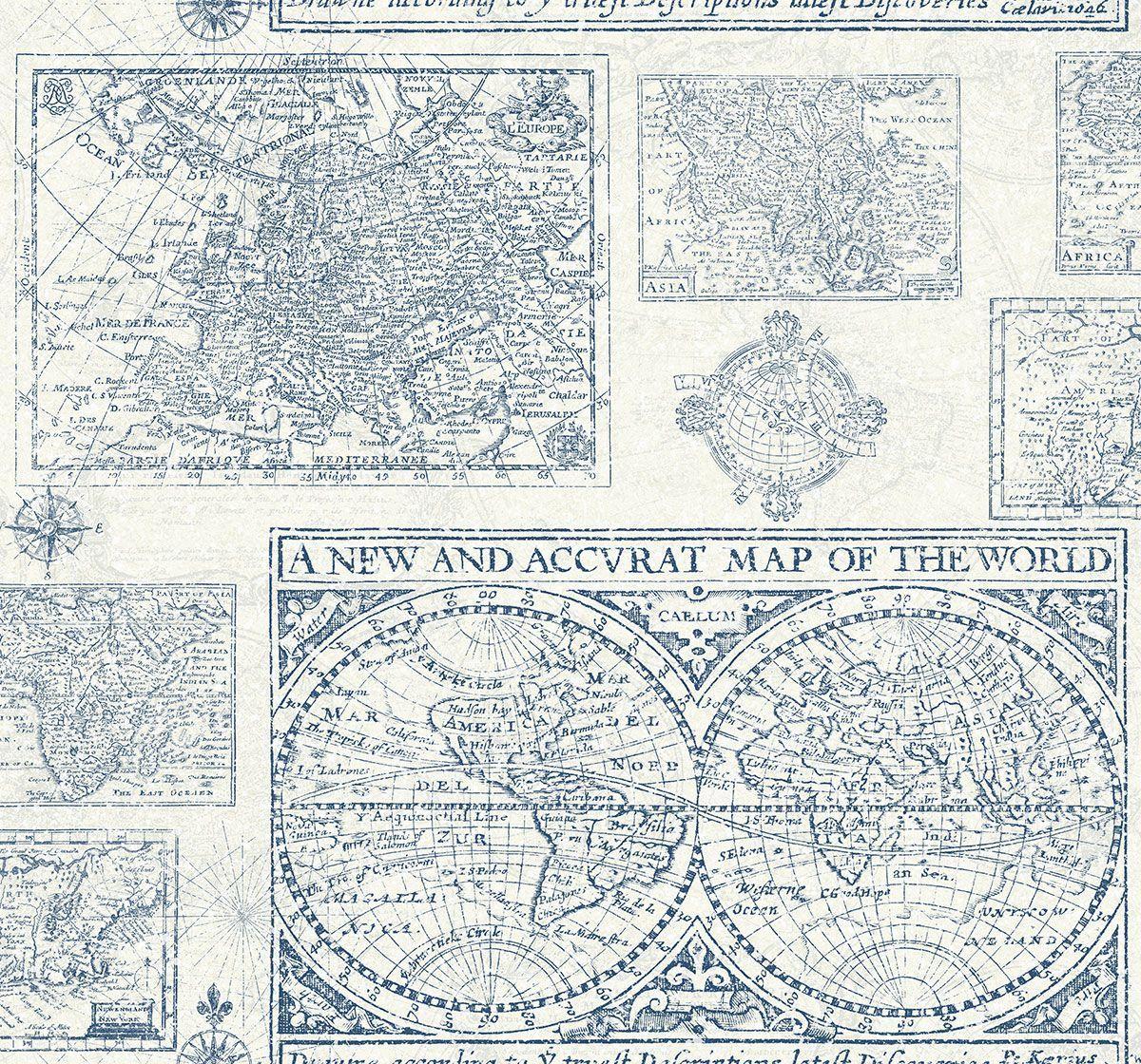 Papel pintado mapa antiguo del catalogo yacht club - Papel pintado mapa ...