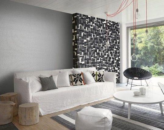 Papel pintado Omexco cuadrados blanco y negro RAA204 y liso RAA306