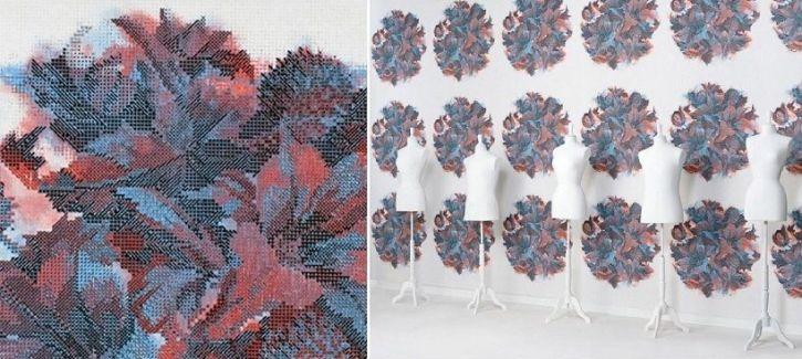 Papel de pared con flores de punto de cruz