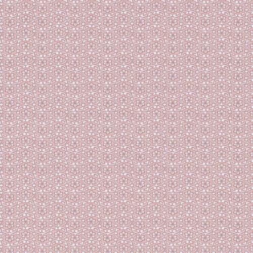 Papel de ornamentos florales en color rosa empolvado