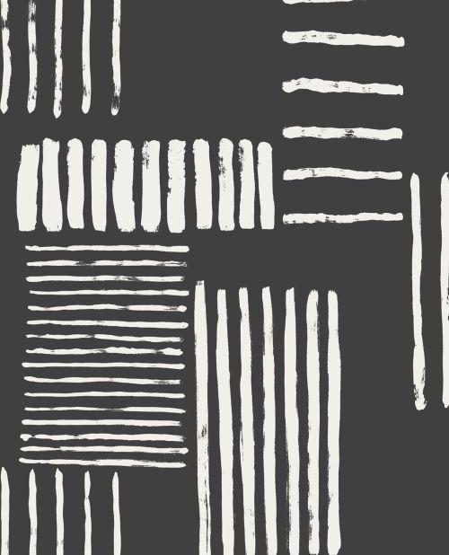 Papel pintado con rayas blanco y negro de la colección Stripes+