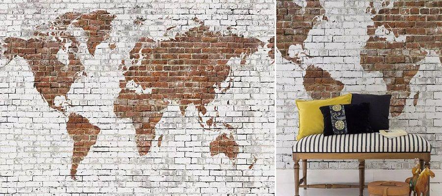 Mural Old Map Brick - Colección Random Papers 2 de Coordonné