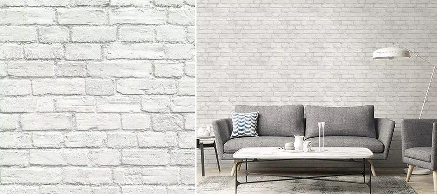 Papel ladrillo blanco Wallquest - Catálogo Destination USA