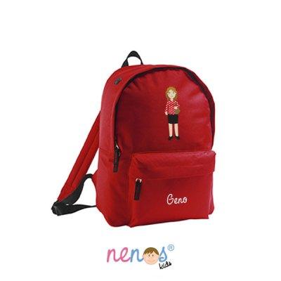 Mochila escolar personalizada Mujer Fondo Rojo