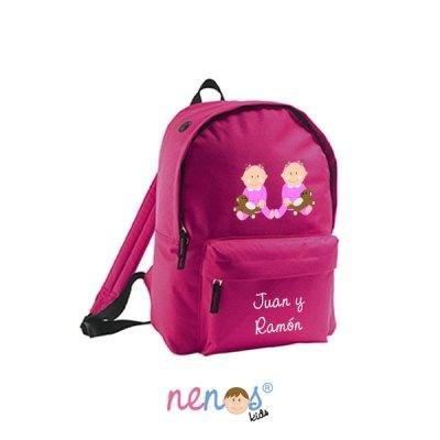 Mochila escolar personalizada Bebés Gemelas