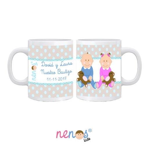 Taza personalizada Bebés Hermanos Niño y Niña