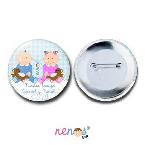 Chapa Imperdible Personalizada Bebés Gemelos Niño y Niña