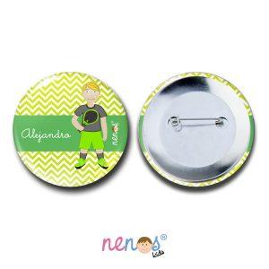 Chapa Imperdible Personalizada Niño Tenista
