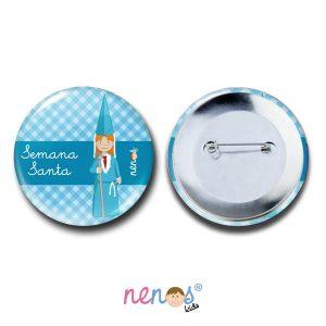 Chapa Imperdible Personalizada Nazarena Azul 2