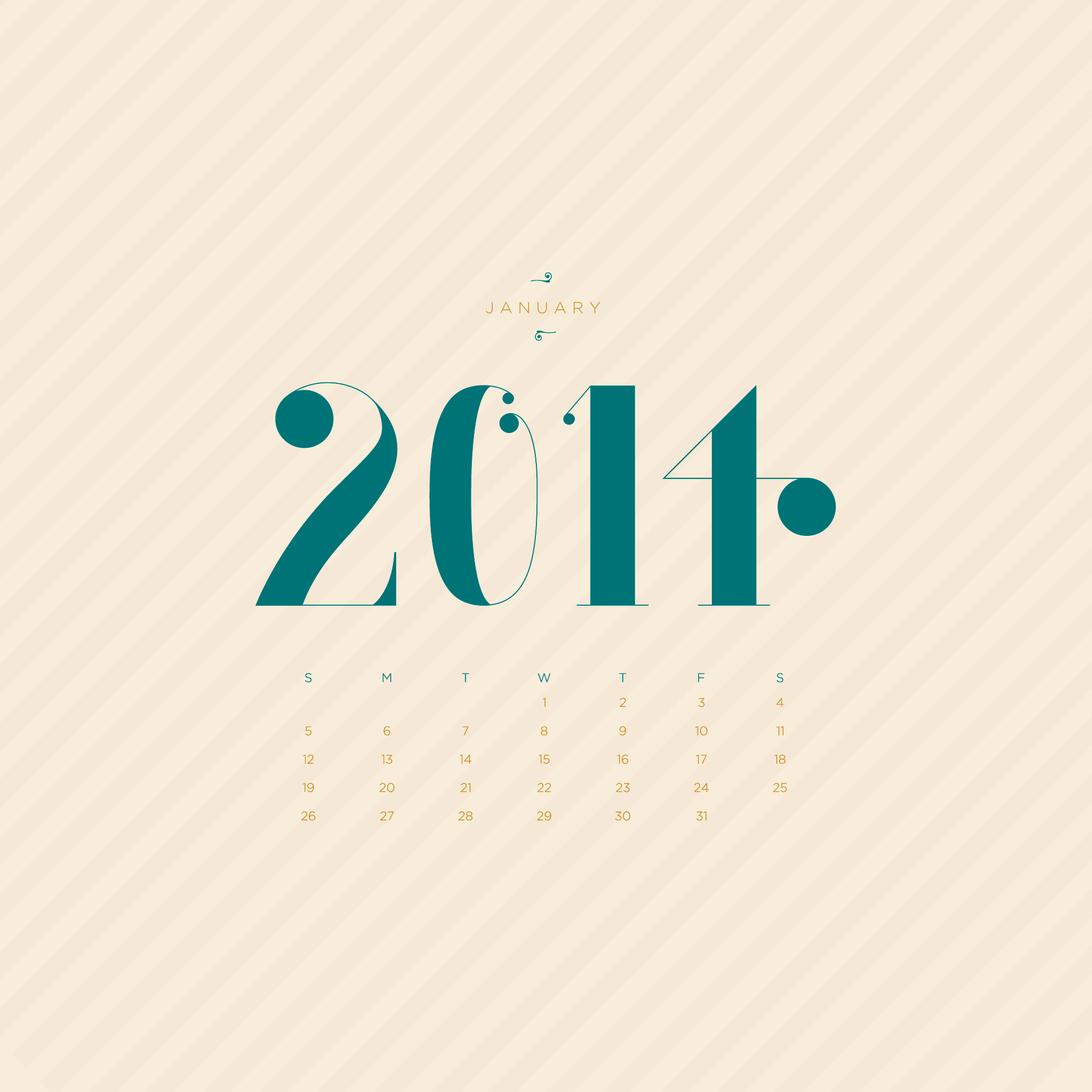 January Desktop Calendar Wallpaper