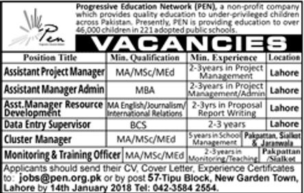 Progressive Education Network PEN Jobs 2018 for Admin Data Entry Supervisor Cluster Manager