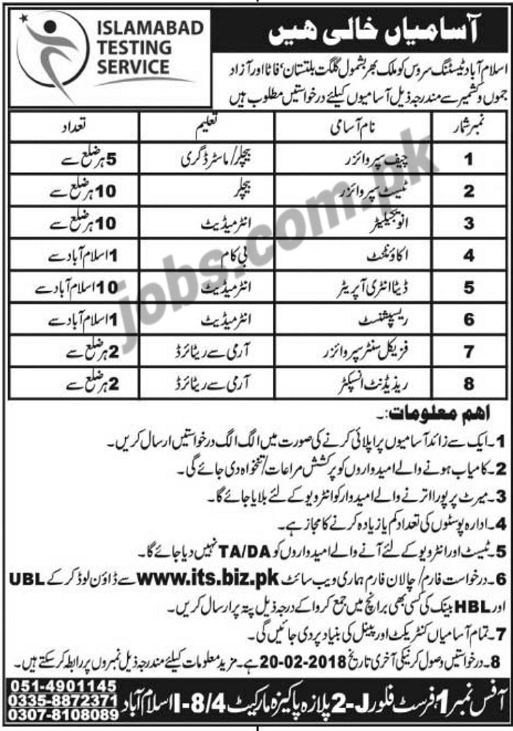 Islamabad Testing Service (ITS) Jobs 2018 for 3550+ Staff
