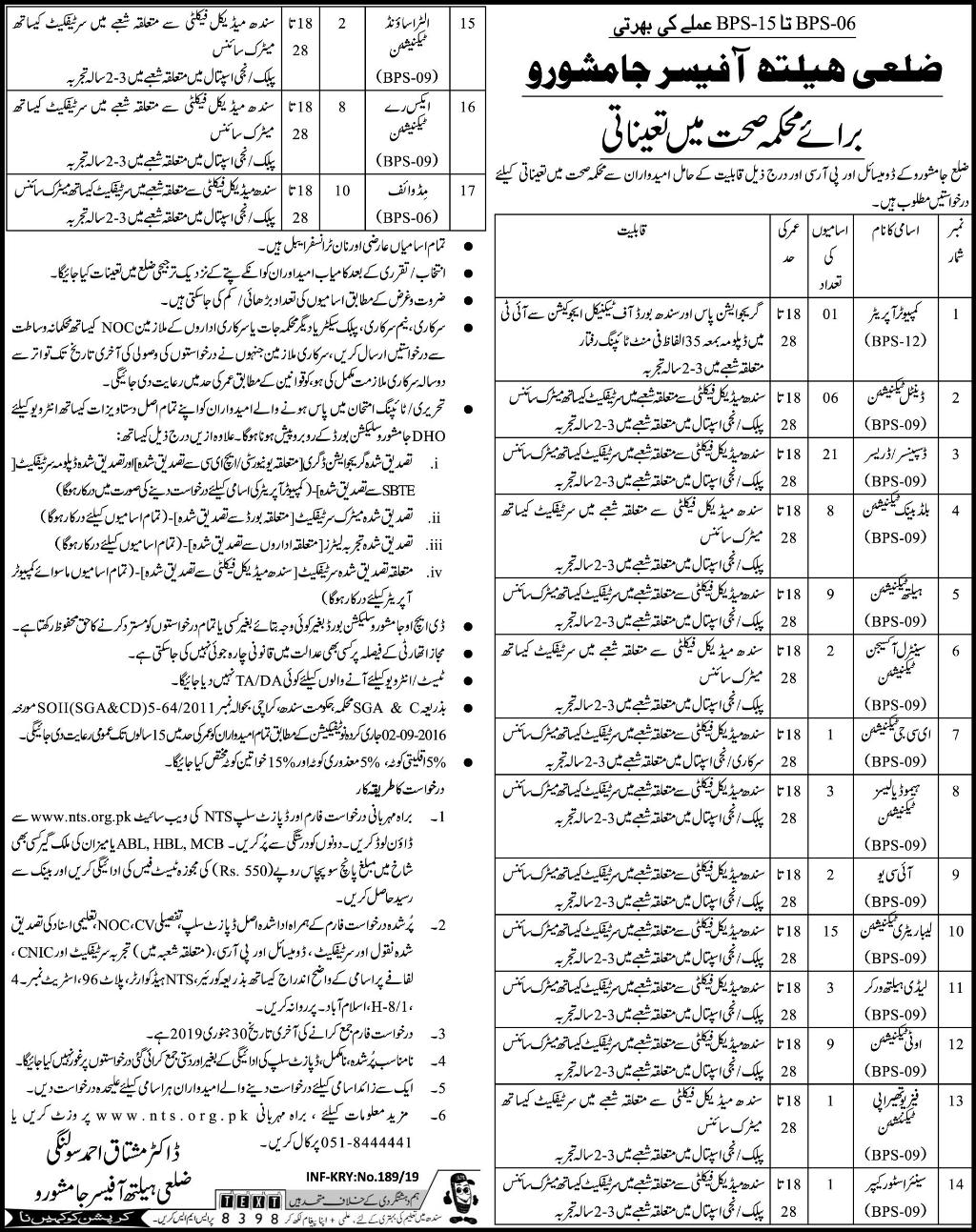 Jamshoro District Health Office Jobs 2019 for 102+ Health
