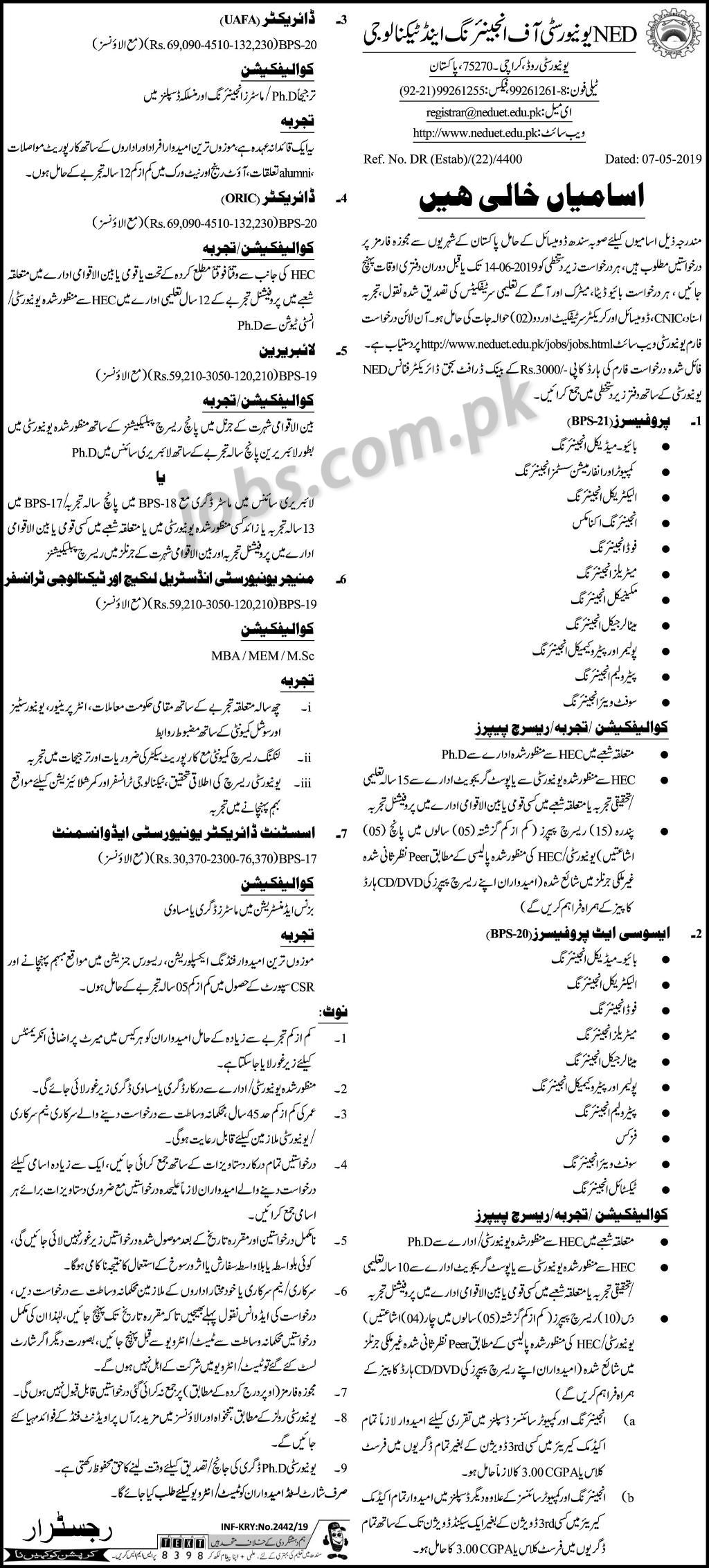NED University Of Engineering & Technology Jobs 2019 For
