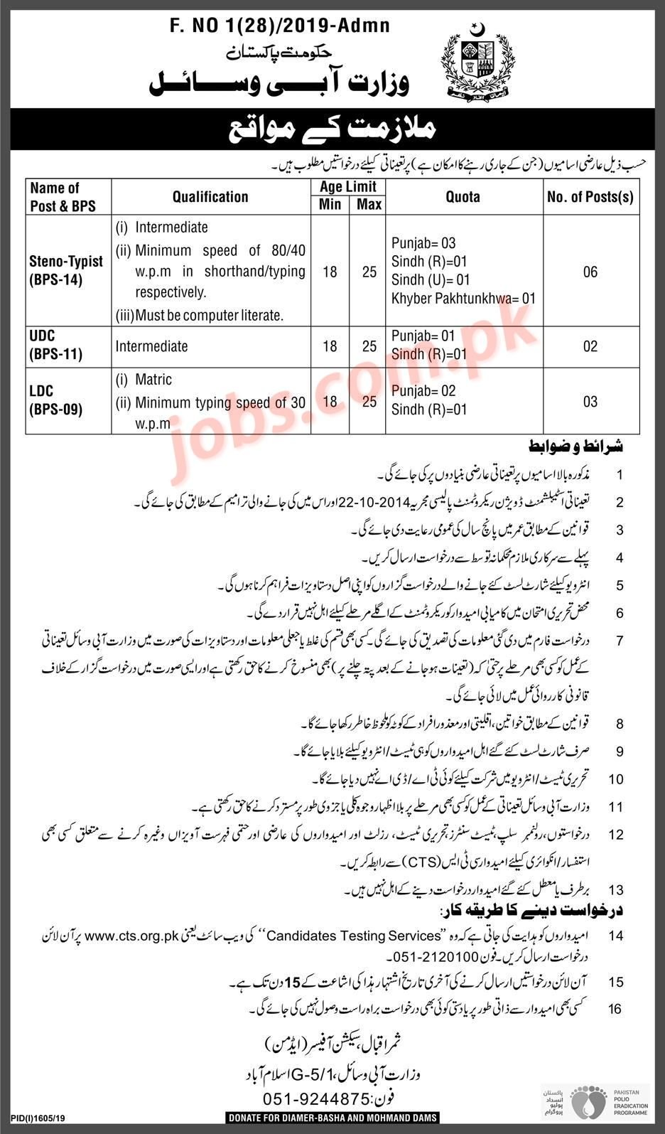 Ministry of Water Resources Pakistan Jobs 2019 for 11