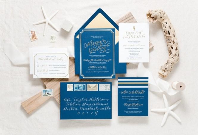 Modern Nautical Navy Gold Foil Wedding Invitations