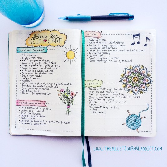 Ideas for Self Care | www.thebulletjournaladdict.com