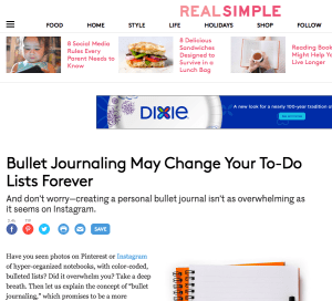 Real Simple – Bullet Journaling May Change Your To-Do Lists Forever
