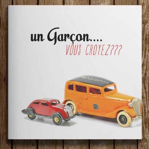 faire-part naissance photo Al capone theme petite voiture jouet