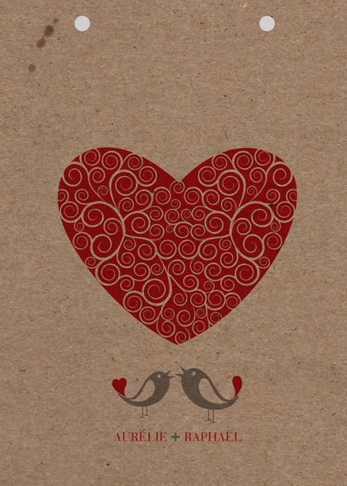 couverture kraft faire-part de mariage kraft love is in the air