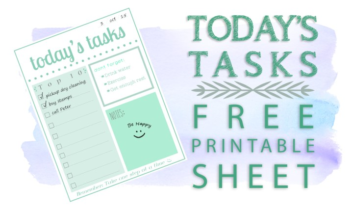 Today's Tasks Free Printable
