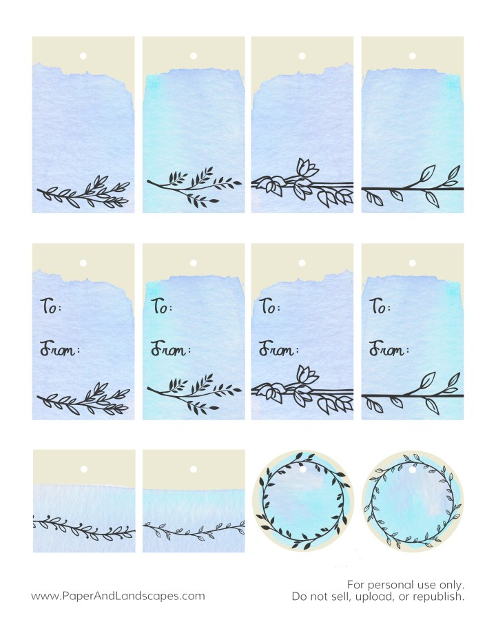 Watercolor Gift Tags -Blue- Paper and Landscapes