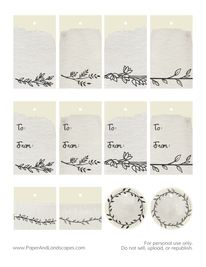 Watercolor Gift Tags -Gray- Paper and Landscapes