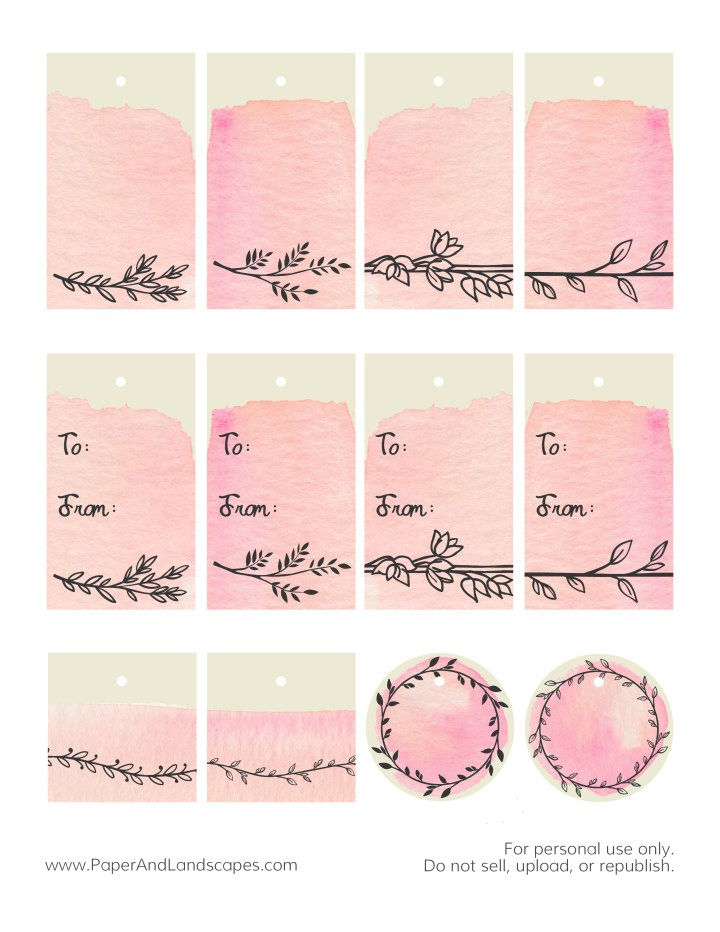Watercolor Gift Tags -Pink- Paper and Landscapes