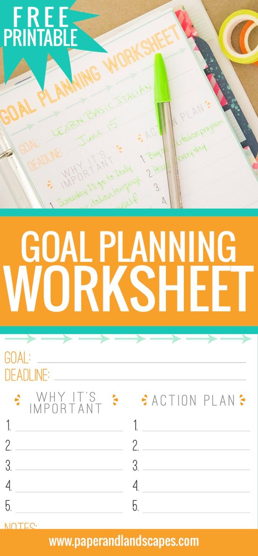 Free Printable Goal Planning Worksheet Paper And Landscapes