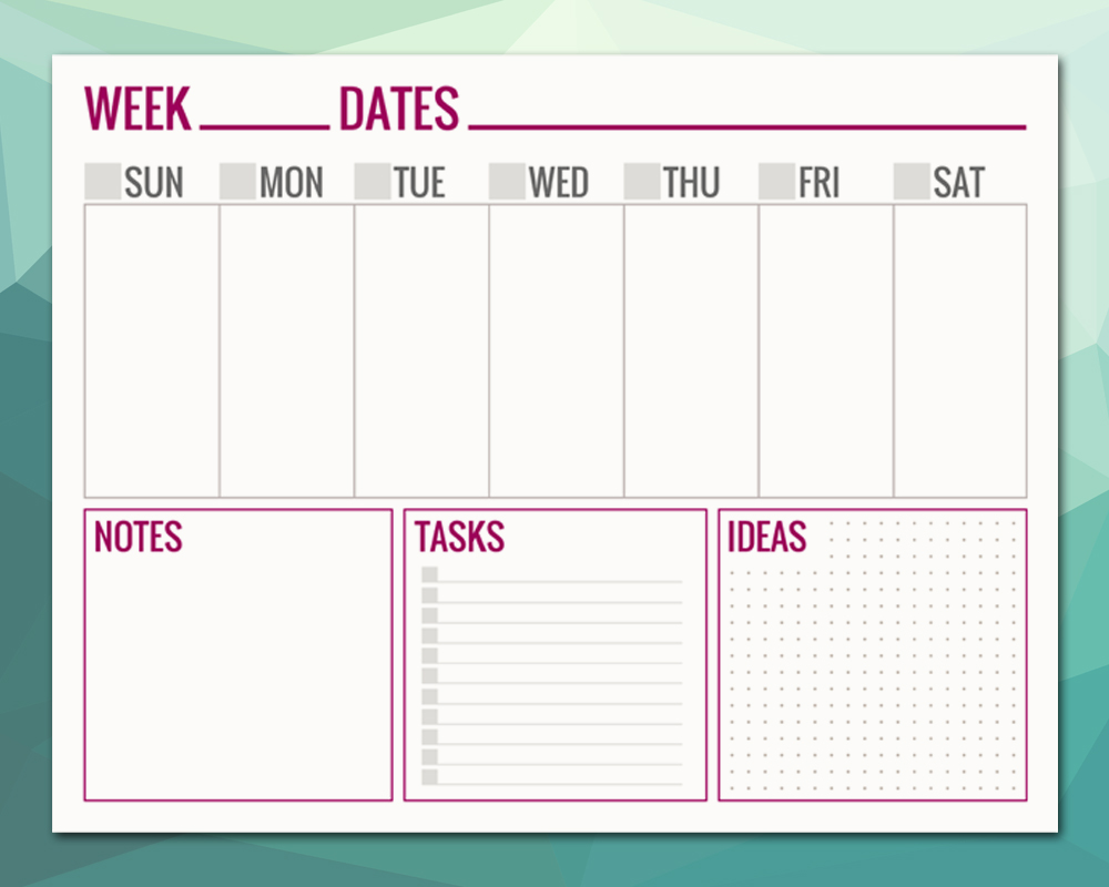 photo relating to Free Printable Weekly Schedule called Absolutely free Printable WEEKLY Plan Webpages - Paper and Scenery