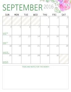 September - Calendar 2016 Portrait - Paper and Landscapes