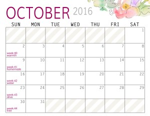 Calendar - October 2016 - Paper and Landscapes