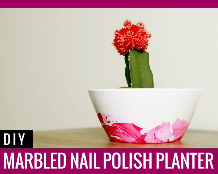 DIY Marbled Nail Polish Planter