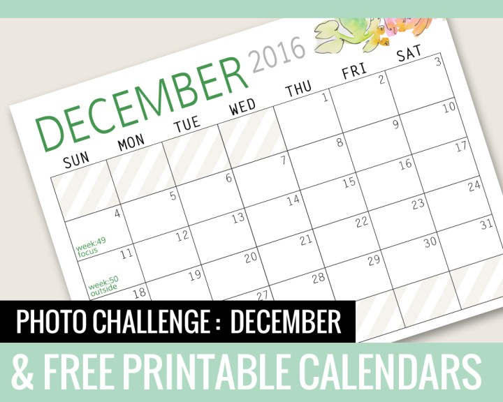 Photo Challenge for DECEMBER and Free Printable Calendars