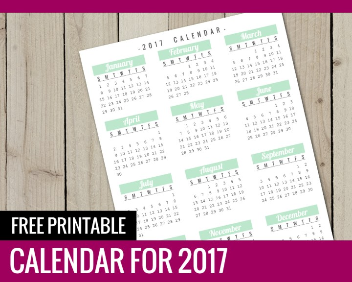Free Printable Calendar for 2017