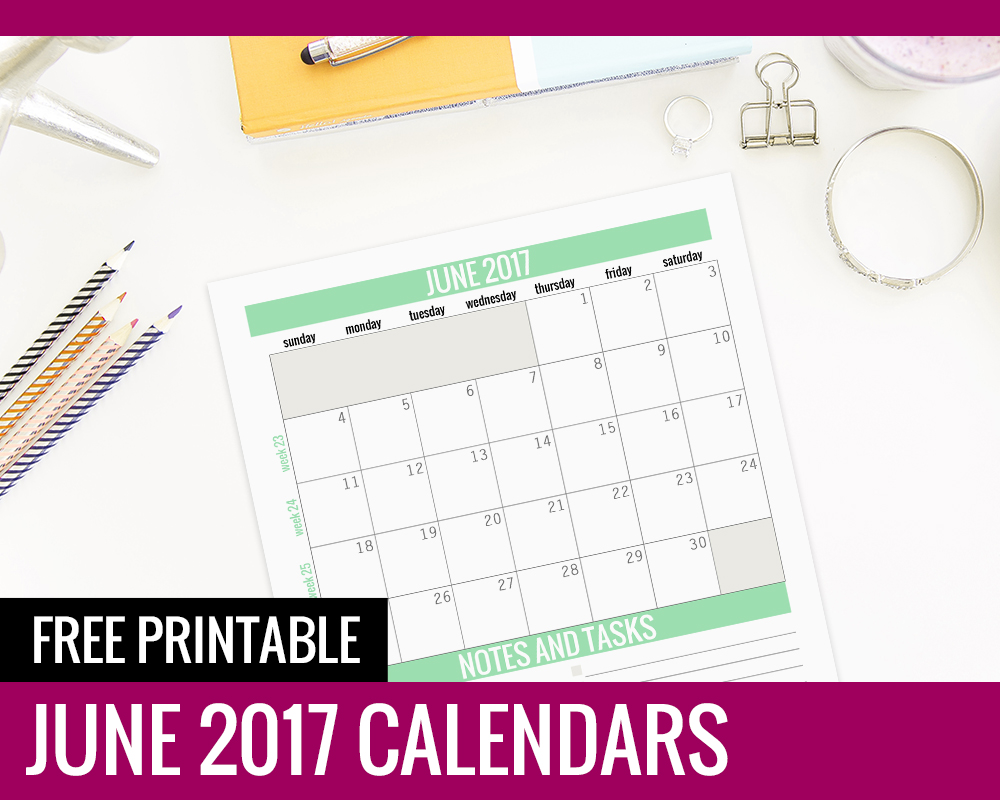 picture about Www.printablecalendars.com � Www.freeprintable.net titled No cost Printable Calendars - June 2017 - Paper and Scenery