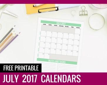 Free Printable Calendars 2017 - July