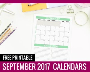 September Calendar 2017 - Paper and Landscapes