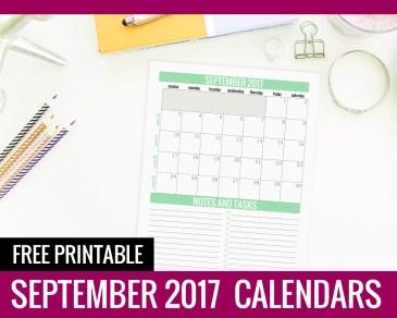 September Calendar 2017 - Paper and Landscapes
