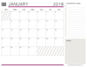 Free Printable Calendars 2018 - Paper and Landscapes - January