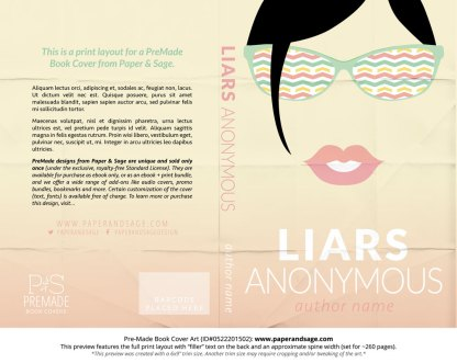 Print Layout for Pre-Made Book Cover ID#0522201502 (Liars Anonymous)