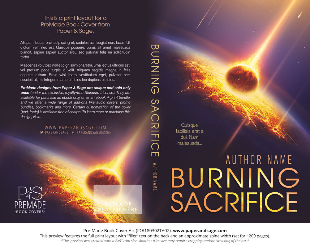 Premade book cover 180302ta02 burning sacrifice paper and sage print layout for pre made book cover id180302ta02 burning sacrifice fandeluxe Image collections